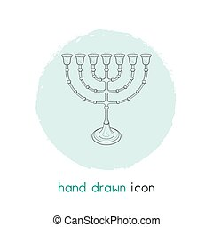 Menorah icon line element. Vector illustration of menorah icon line isolated on clean background for your web mobile app logo design.