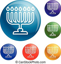 Menorah icons set vector 6 color isolated on white...