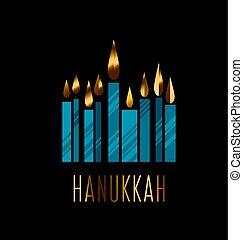menorah, illustration., hanukkah, judío, velas, juish, símbolo., simple, vector, hanuka, icon.