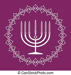 menorah, judío, ilustración, vector, plano de fondo, feriado