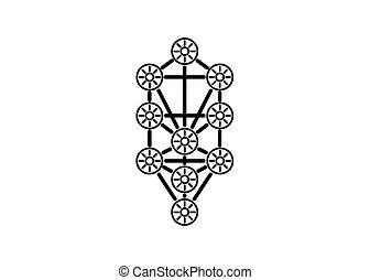 menorah, kabbalah, arrière-plan., design., qabalists, vie, sacré, symbole, secrets, icône, isolé, signe., logo, illustration, vecteur, arbre, géométrie, tatouage, blanc, principal, glyph