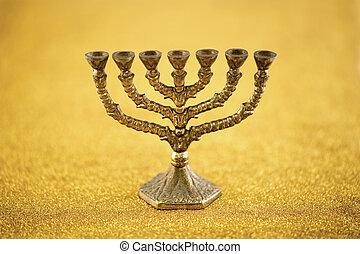 Menorah on golden background