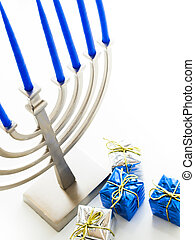 Menorah - Contemporary menorah with blue candels on white...