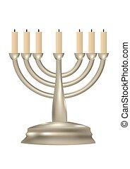 Menorah. Seven branched candlestick isolated on white