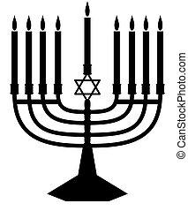 Illustrated silhouette of a Jewish Menorah