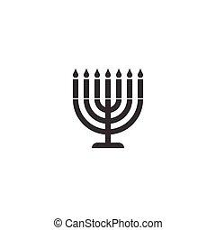 menorah, silueta, icono