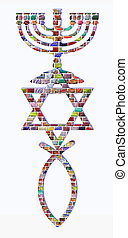 Menorah, Star of David and fish of colorful gemstones