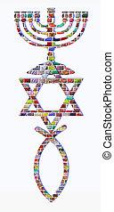 Menorah, Star of David and fish of colorful gemstones
