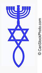 Menorah, Star of David and fish in blue color