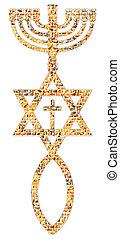 Menorah, Star of David, fish, cross - Menorah, Star of...