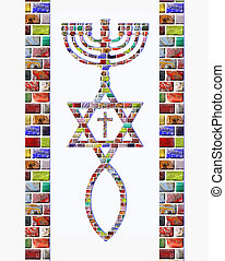 Menorah, Star of David, fish, cross and stripes of colorful gemstones