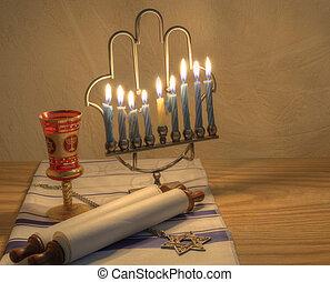 Menorah - A Judaic Hannukah Menorah, and other objects.