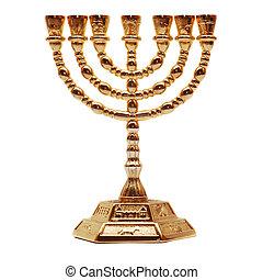 menorah - golden menorah isolated on white