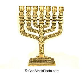 menorah - golden colour jewish chandelier menorah