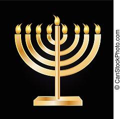 Menorah symbol icon - Candlestick menorah. Jewish symbol...