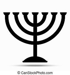 Menorah symbol of Judaism. Illustration isolated on white background.