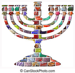 Menorah - The menorah of colored gemstones