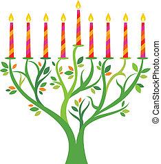 menorah, træ, hanukkah