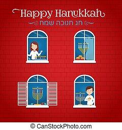 menorah, tradicional, vector, casa de fiesta, hanukkah, candelabras, windows, judío, fiesta, luces