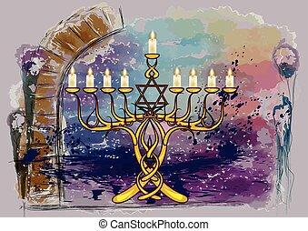 menorah with candles on abstract multicolor grunge...