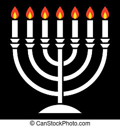 menorah with seven candles burning