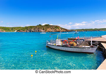 Menorca Es Grau clean port with llaut boats in Balearics - ...