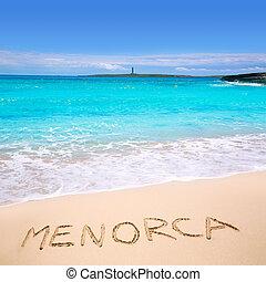 Menorca Punta Prima far illa del Aire island lighthouse in...