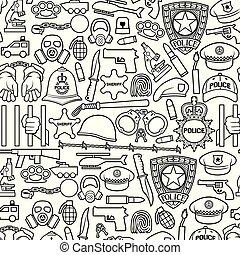 menottes, ensemble, chaîne, revolver, bullet), masque, voiture, fil, casque, police, shérif, icônes, bombe, (british, mince, barbelé, étoile, chauve-souris, essence, chapeau, mains, ligne, bouclier, bobby, officier, enchaîner, hélicoptère