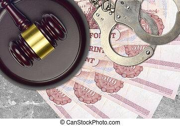 menottes, hongrois, forint, action éviter, 500, bribery., tribunal, ou, factures, impôt, desk., juge, police, marteau, judiciaire, procès, concept