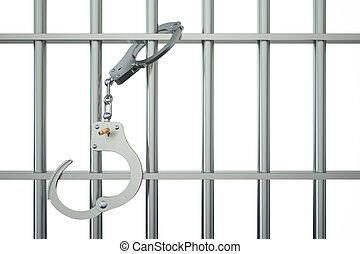 menottes, métal, barres prison