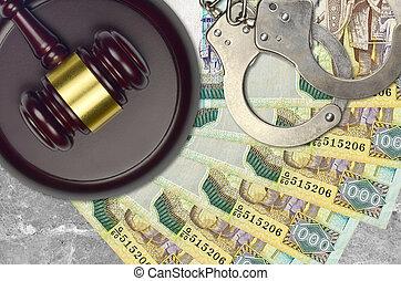 menottes, marteau, lankan, sri, action éviter, bribery., tribunal, ou, factures, impôt, desk., rupees, police, juge, judiciaire, procès, 1000, concept