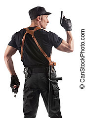 menottes, police, fusil, officier