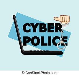 menottes, vecteur, police, cyber
