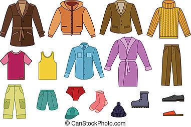 mens, öltözet, gyűjtés