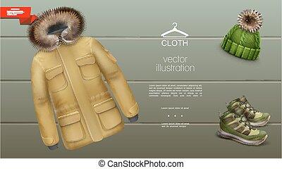 mens, テンプレート, 衣服, 冬, 現実的