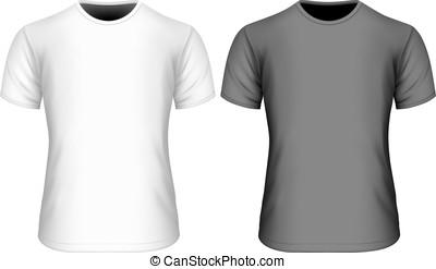 mens, 짧은 소매, 티셔츠, 검정과 백색