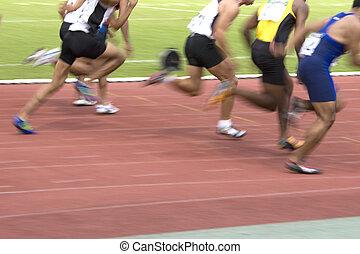 Men's 100 Meters Sprint (Blurred) - Image of the men's 100...