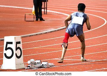 mens, 200, meters, hardloop, voor, invalide
