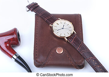 Men's accessories for business and rekreation. Leather...