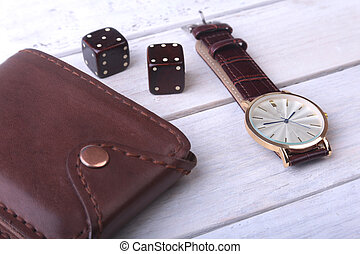 Men's accessories for business and rekreation. Watch,...