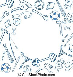 Men's Accessories. Instruments. Sports equipment frame in doodle style