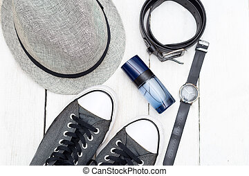 Men's accessories. Men's accessories on a white wooden background