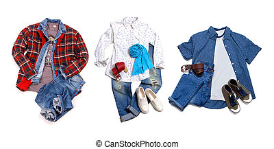 Men's and women's clothing collection on white background