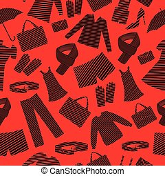 Mens and womens wear shapes background.