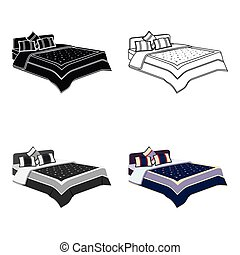 Men's bed with a blue bed and stars. Bed single icon in cartoon style vector symbol stock illustration.