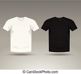 Mens Black And White Blank T-Shirt Templates