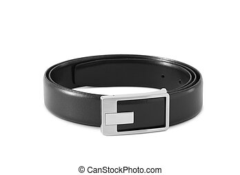 men's black leather strap