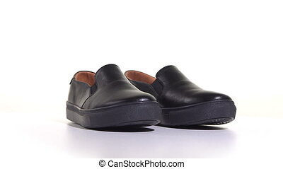 Mens Black Slip-on Sneakers - Mens black slip-on sneakers on...