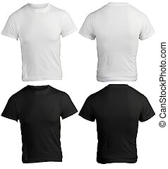 Men's Blank Black and White Shirt, Front and Back Design Template