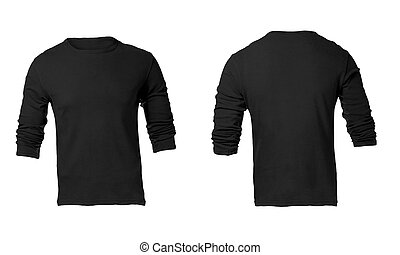 Men's Blank Black Long Sleeved Shirt Template